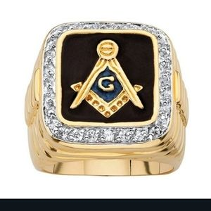 Men's mason gold over 925 stamped ring sz8